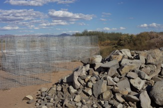 wire cages filled with rocks
